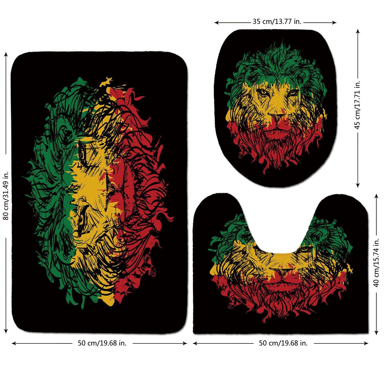 3 Piece Bathroom Mat Set,Rasta,Ethiopian Flag Colors on Grunge Sketchy Lion Head with Black Backdrop Decorative,Light Green and Yellow,Bath Mat,Bathroom Carpet Rug,Non-Slip
