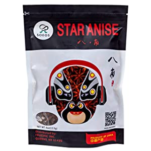 Soeos Star Anise Seeds (Anis Estrella), Whole Chinese Star Anise Pods, Dried Anise Star Spice, 4 oz.