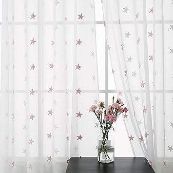 Deconovo Lot De 2 Rideau Salon Voilage Pour Chambre Enfant Fille Broderie  Etoile Rose à Oeillets