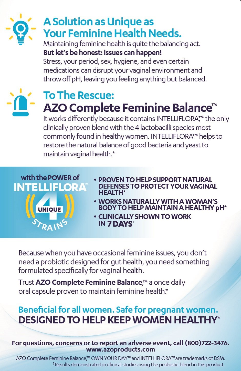AZO Complete Feminine Balance Daily Probiotics for Women   30 Count    Clinically Proven to Help Protect