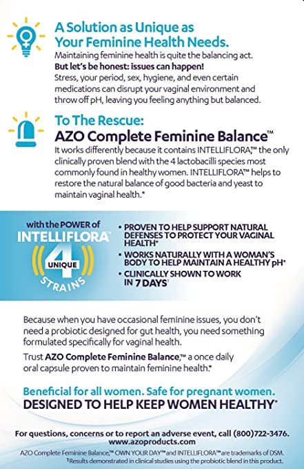 Amazon Com Azo Complete Feminine Balance Womens Daily Probiotic Clinically Proven To Help Protect Vaginal Health Clinically Shown To Work In 7 Days