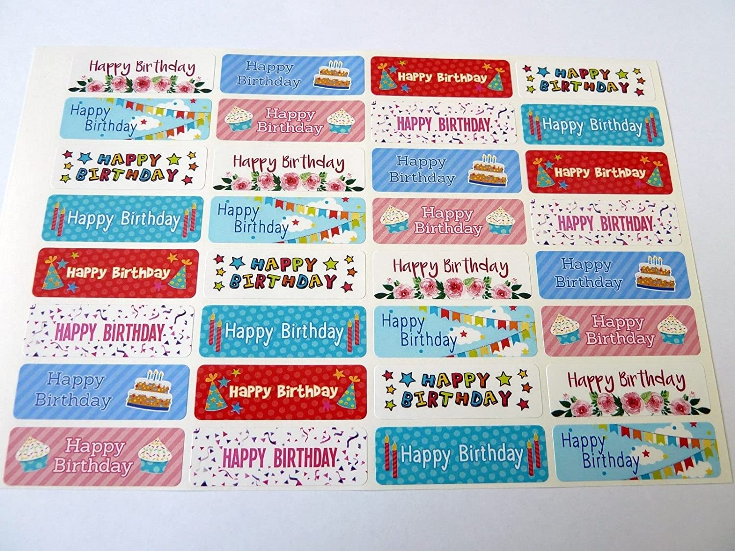 Envelopes /& Gifts Labels for Cards Pack of 32 Colorful Happy Birthday Greeting Stickers