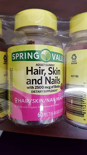 Amazon Com Spring Valley Hair Skin Nails 3pk 60 Gummies