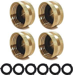 4 Pack Garden Brass Hose Cap, Garden Hose Female Fitting Cap,3/4 Inch Brass Hose End Cap with 6 Washers