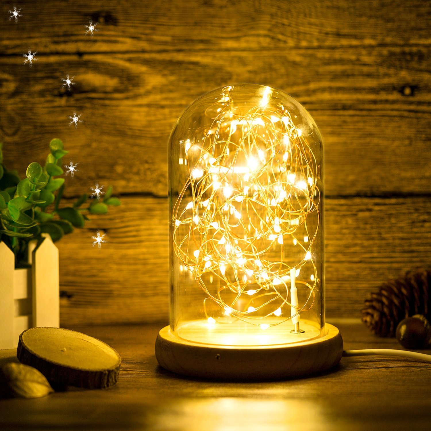 Glass Dome Bedside Table Lamp Bell Jar Display Dome Bamboo Base String USB LED Decorative Lamp with LED Warm Fairy Starry String Lights ideal for Decoration Anywhere By Erosom.(Warm White) by Erosom (Image #6)