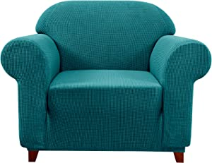 subrtex Sofa Cover 1-Piece Stretch Couch Slipcover Soft Couch Cover Washable Furniture Protector for Pets, Jacquard Fabric Small Checks(Turquoise,Small)
