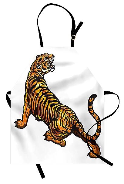 b83f5753f Lunarable Tattoo Apron, Drawing of African Tiger Roaring Jungle Creature  Safari Predator Illustration, Unisex