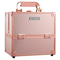 Makeup Train Case Rose Gold Travel Beauty Cosmetic Box Professional 4-trays Jewelry...