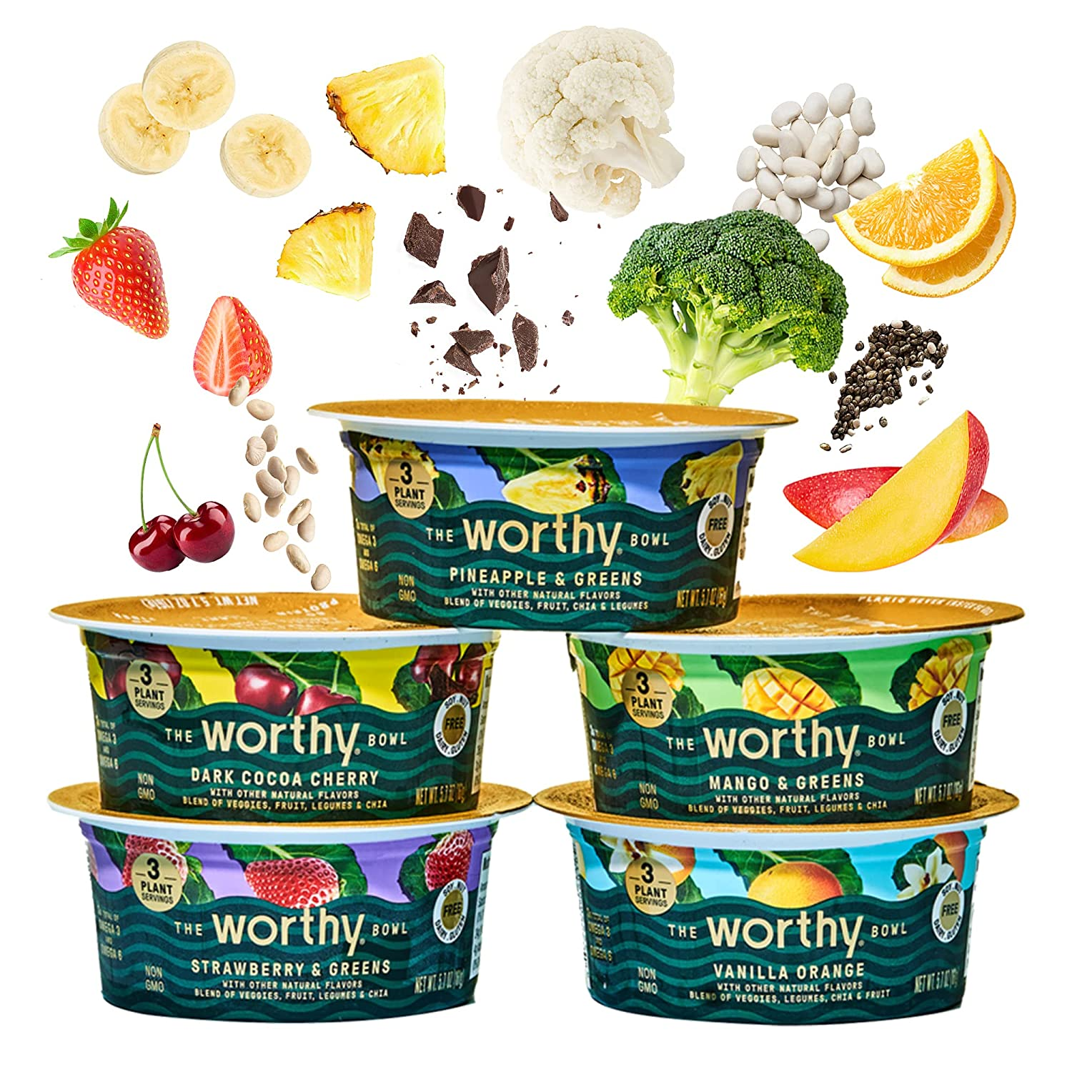 WORTHY BOWL Fruit Snacks Blended Veggies, Fruit, Protein, and Fiber   Gluten Free, Vegan, and Non-GMO   Plant Based High Protein Snacks   Healthy Snacks and Low Sugar Snacks   5.7 Oz Bowls