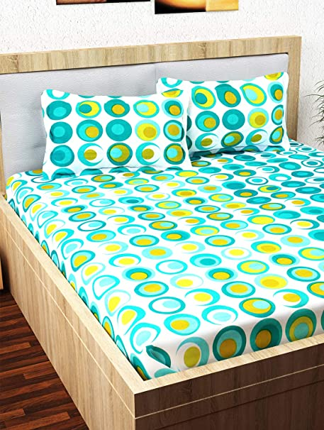 Story@Home Candy 120 TC Cotton Double Bed Sheet with 2 Pillow Covers - Geometic Circles, Queen Size, Cyan and White