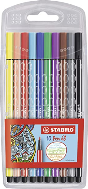 Fasermaler Stiftepack 10er Filzstifte Originalverpackung Stabilo Pen 68