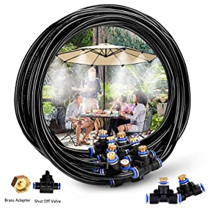 H&G lifestyles Misters for Patio Misting System 26.2FT (8M) Misting Line 10 Brass Mist Nozzles Brass Adapter for Patio Garden Umbrellas Greenhouse Trampoline