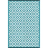 Green Decore Nirvana Premium Grade Stain Proof Reversible Plastic Outdoor Rug (180 X 270 cm, Blueish Green/White)