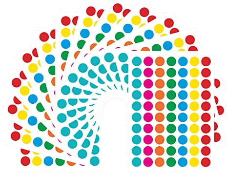 """1/"""" Teal Circle Code Coding Inventory Stickers Dots 500 labels p//r"""