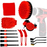 EVBOYS 16 Pcs Car Detailing Kit for Cleaning Wheels, Tires, Rims Drill Brush Wire Brush Automotive Air Conditioner Brush Car