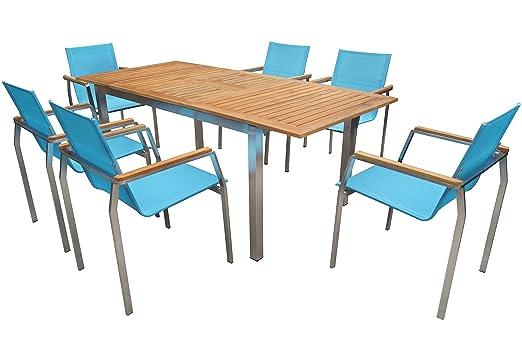Tavoli Allungabili E Sedie In Coordinato.Outflexx Esstischgruppe Per 6 Persone Turchese Gruppo Di Acciaio