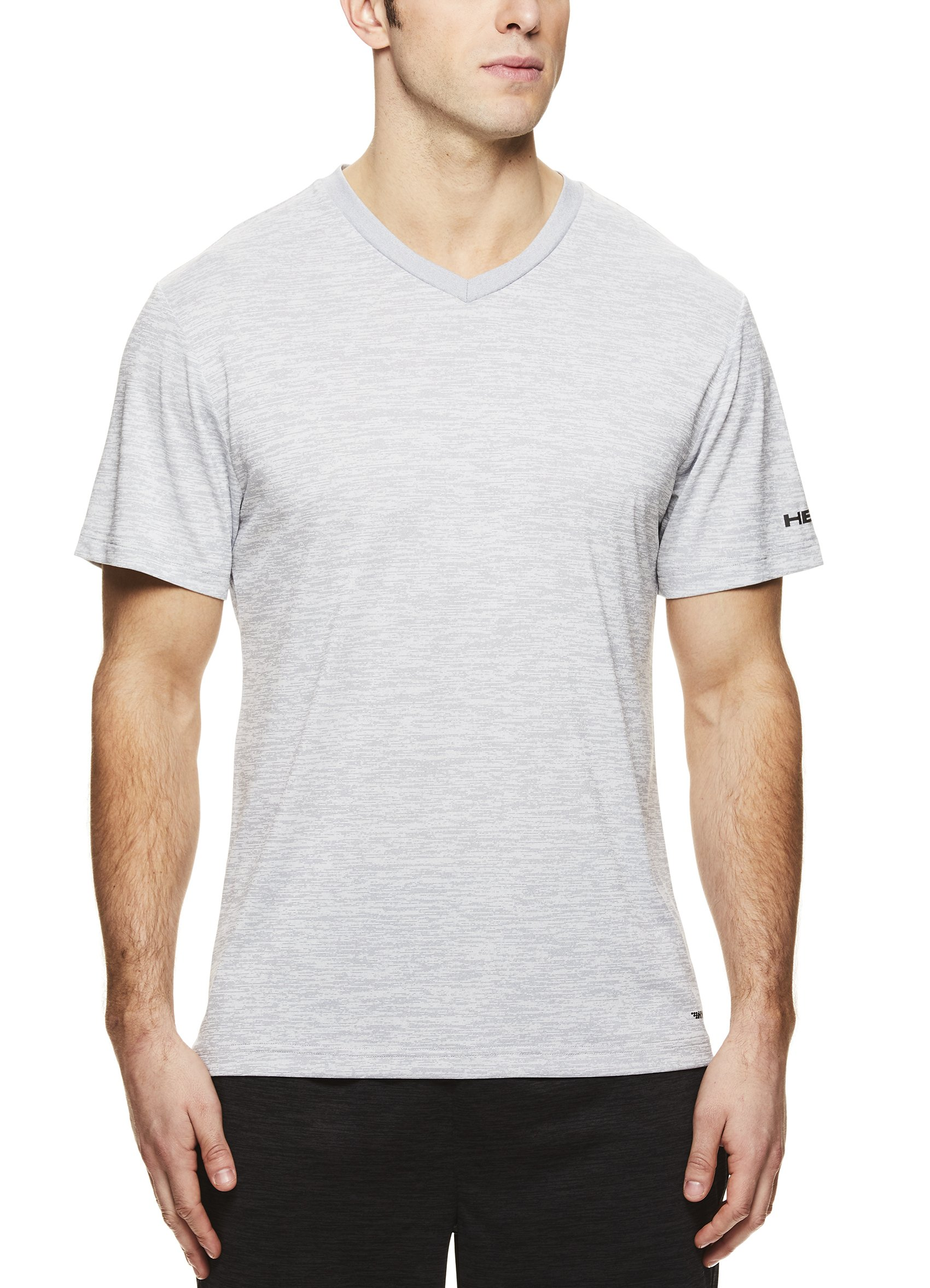 HEAD Men's V Neck Gym Training & Workout T-Shirt - Short Sleeve Activewear Top - Flash Sleet Heather Grey, Small