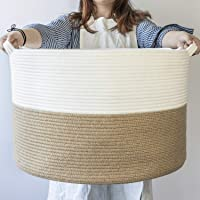 """INDRESSME XXXLarge Jute Rope Basket 21.7"""" x 21.7"""" x 13.8"""" Woven Baby Laundry Basket for Blankets Toys Storage Basket with Handle Comforter Cushions Storage Bins Thread Laundry Hamper"""