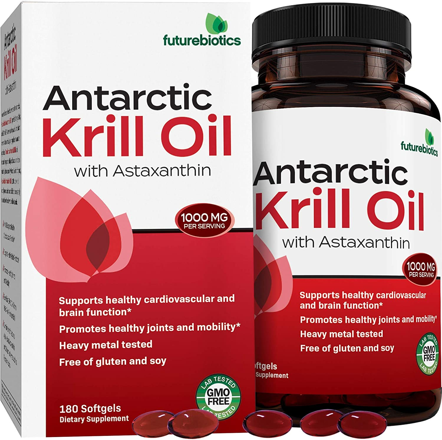 Futurebiotics Antarctic Krill Oil with Omega-3s EPA, DHA, Astaxanthin and Phospholipids - 100% Pure Premium Krill Oil Heavy Metal Tested, Non GMO Gluten Free Soy Free – 180 Softgels