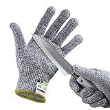 Yokamira Guanti Antitaglio, Guanti da lavoro, Guanti da giardinaggio, guanti da cucina resistenti al taglio, Protezione di Livello 5, Livello Alimentare, Certificato EN 388, 1 paio, Grigio(M)