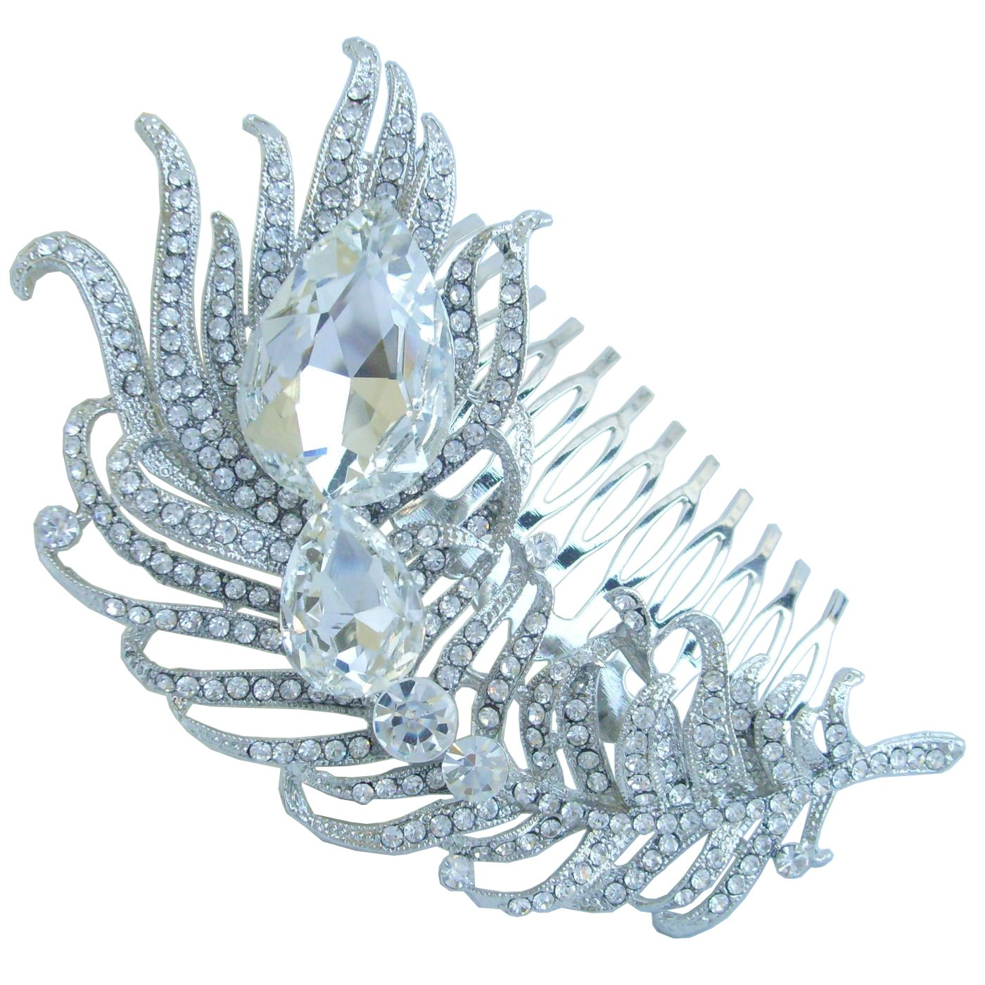 Sindary Wedding Headpiece 4.33'' Rhinestone Crystal Bridal Peacock Feather Hair Comb (Silver-Tone Clear)