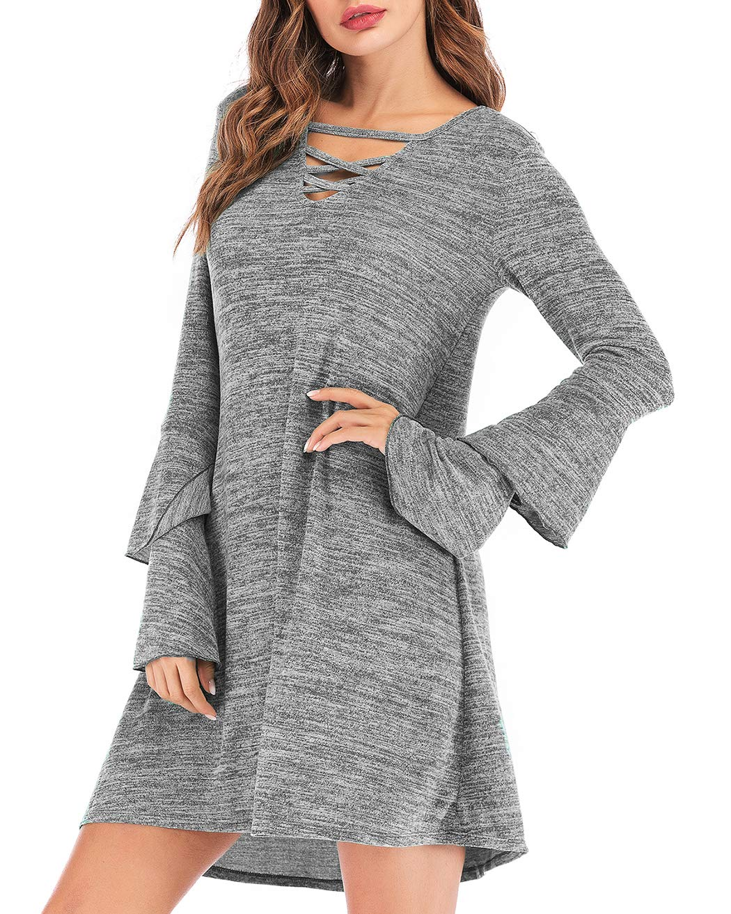 Eanklosco Women's Sweater Dress Flare Long Sleeve Knit Jumper Tops Criss Cross V Neck Loose Swing Tunic Dress (Gray, 2XL)