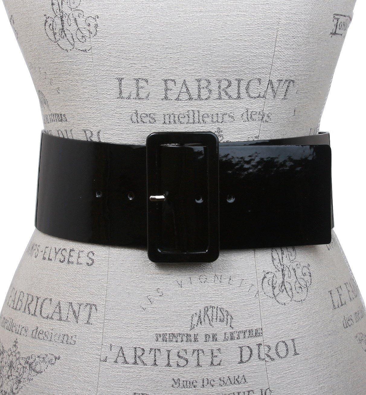 beltiscool Womens High Waist Patent Leather Square Belt