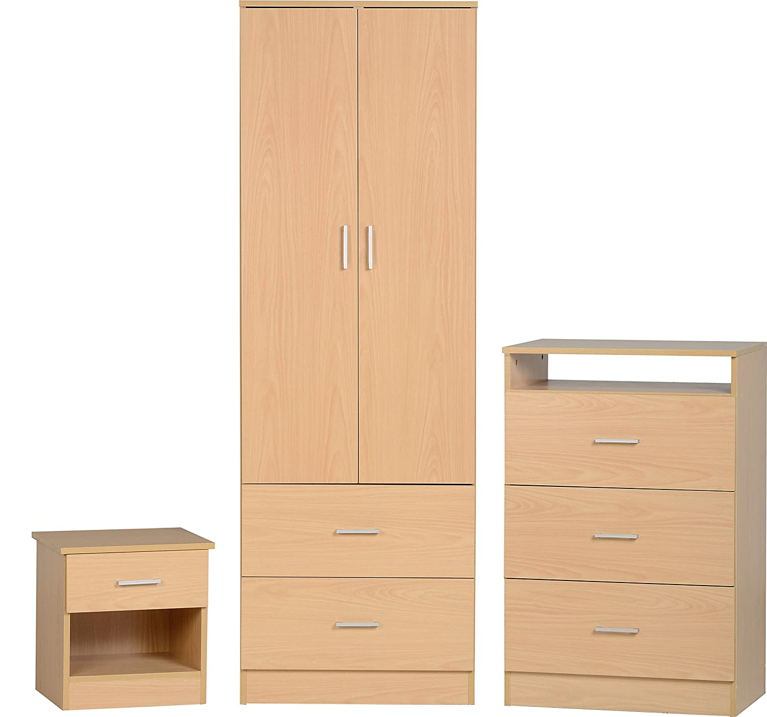 Seconique Polar Bedroom Set, Wood, Beech Effect, 359.95x439.95x99.95 cm 100-108-003