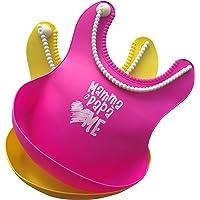 Bavaglini neonato in silicone | Impermeabili, Facili da pulire | Tasca Raccogli Cibo | Set 2 bavaglini in silicone per bambini e neonati |