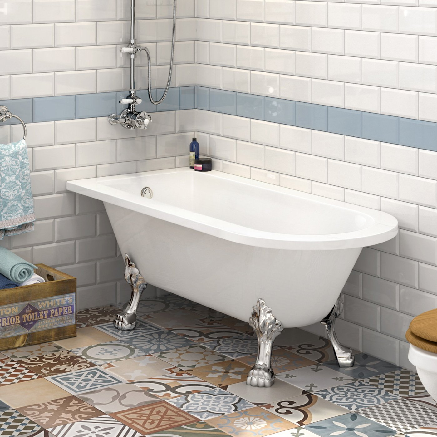 Single Ended Roll Top Bath With Shower Screen Introducing the new ...