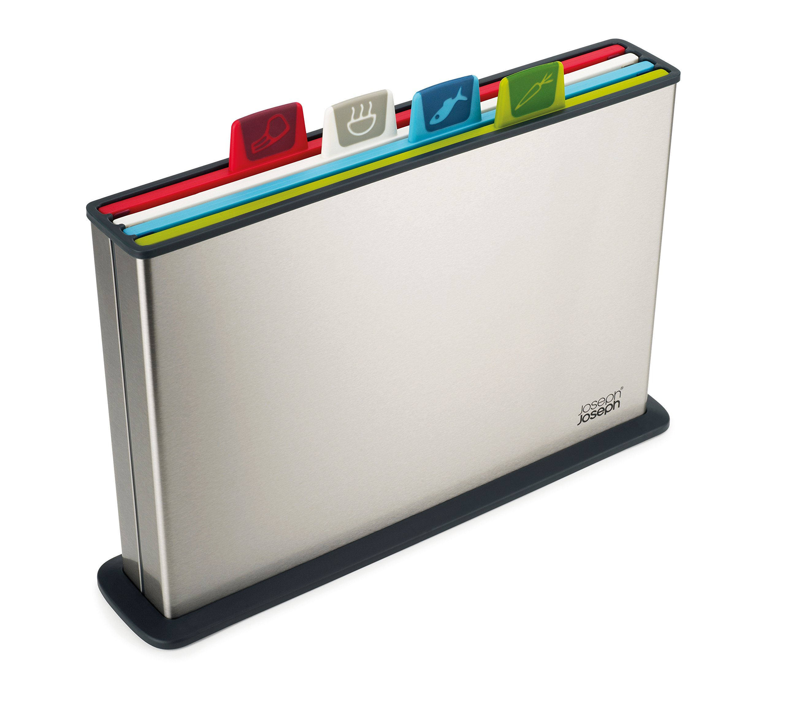 Joseph Joseph 60095 Index Plastic Cutting Board Set with Stainless Steel Storage Case Color-Coded Dishwasher-Safe Non-Slip, Large, Steel Multicolored by Joseph Joseph