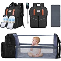 3 in 1 Baby Diaper Bag with Changing Station Backpack Foldable Diaper Bag with Bassinet Black Portable Baby Bag Travel…