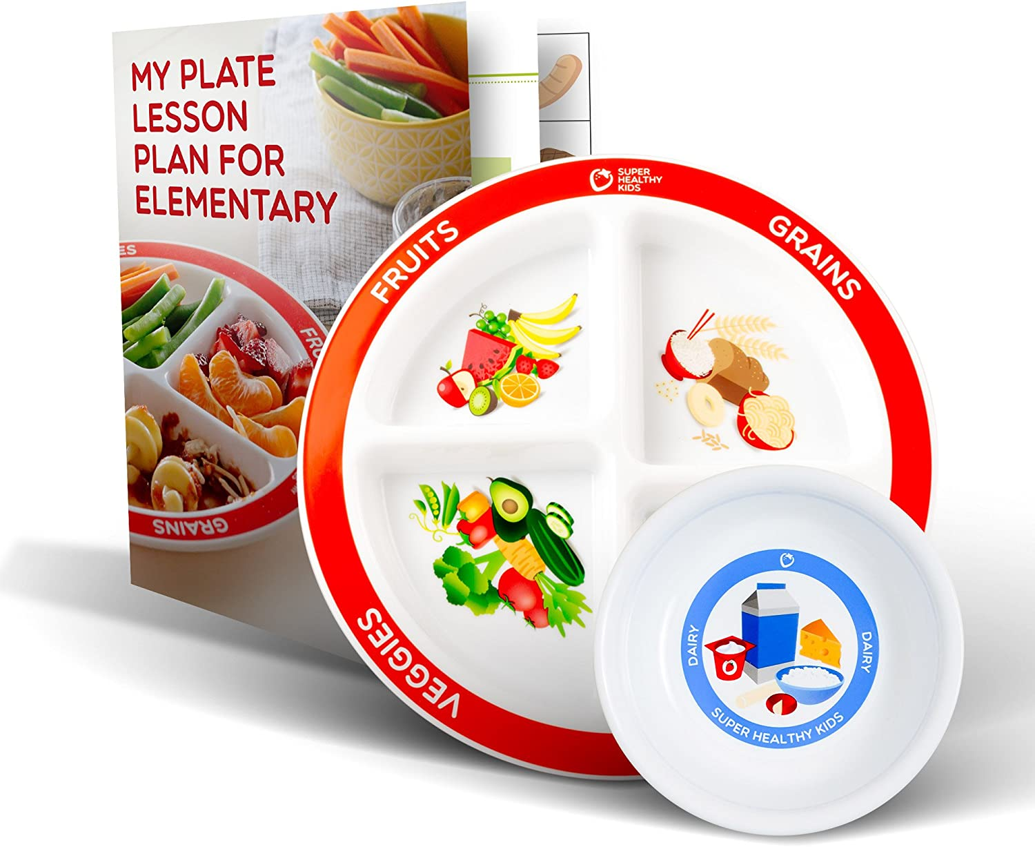 Health Beet Portion Plate Choose MyPlate for Kids - Kids Plates with Dividers and Nutrition Portions Plus Dairy Bowl - Includes Elementary Healthy Eating Lesson Plan for Teachers (1 Plate, 1 Bowl)