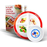Health Beet Portion Plate Choose MyPlate for Kids - Kids Plates with Dividers and Nutrition Portions Plus Dairy Bowl…