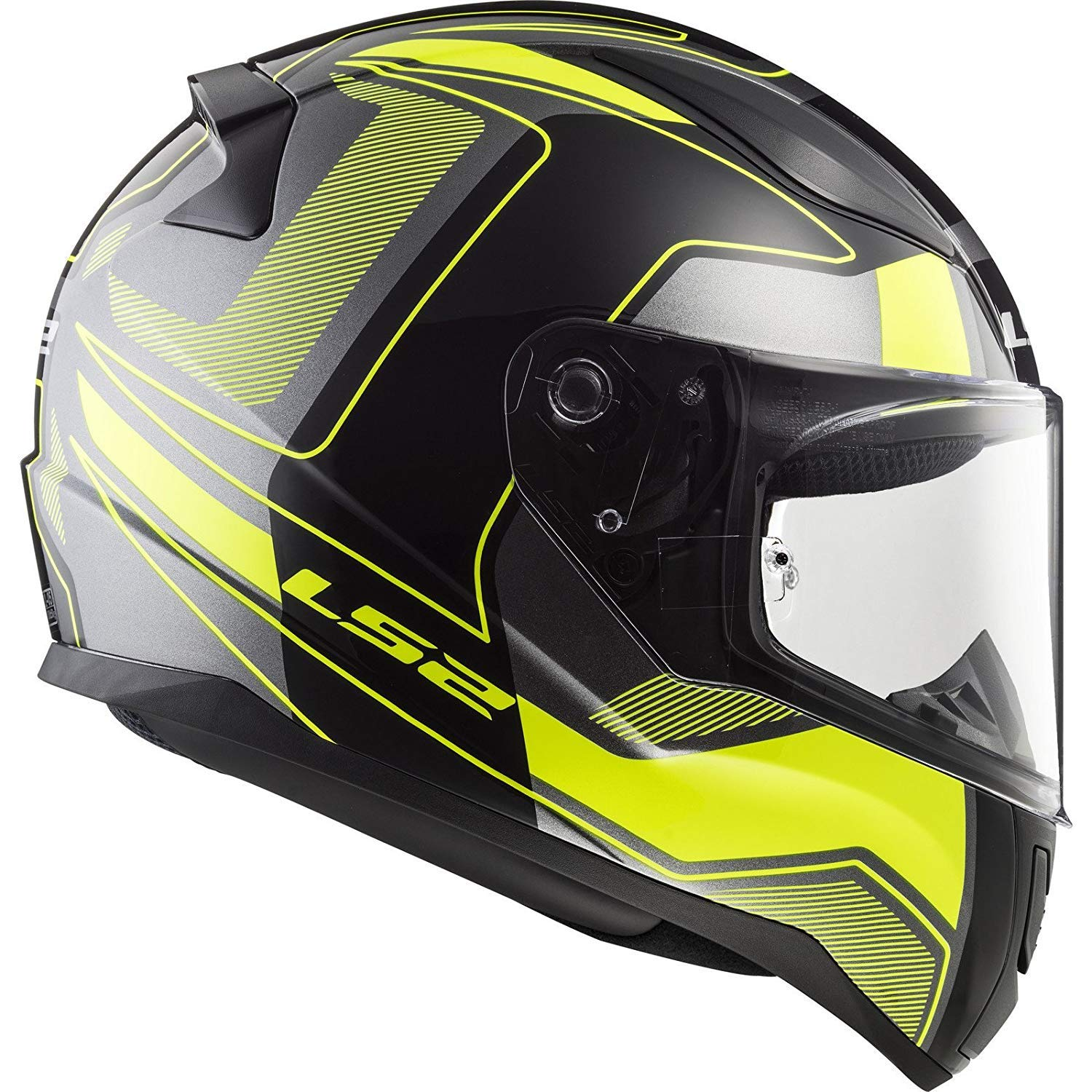 FREE DARK VISOR MOTORCYCLE LS2 FF353 RAPID CARRERA MATT BLACK HI VIZ YELLOW FULL FACE HELMET Motorbike Scooter Rider On Road Track Racing Touring Urban Sports ECE Certified Helmet