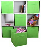 DUAL HANDLE by ADORN, Foldable Cloth Storage Cube Basket Bins Organizer Containers Drawers, 6 Pack -- Lime Green