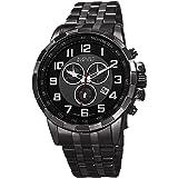 August Steiner Men's AS8118BK Swiss Quartz Chronograph Black & Gun Stainless Steel Bracelet Watch