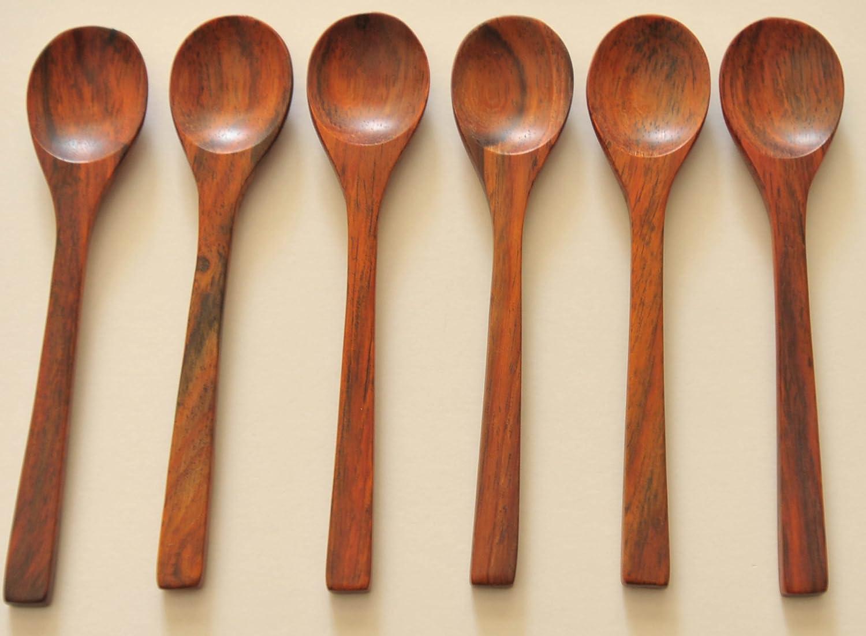 Juego de 6 utensilios de madera Rose Madera Cuchara de postre, 12,7 cm de largo (fabricado a mano en Northern Tailandia): Amazon.es: Hogar