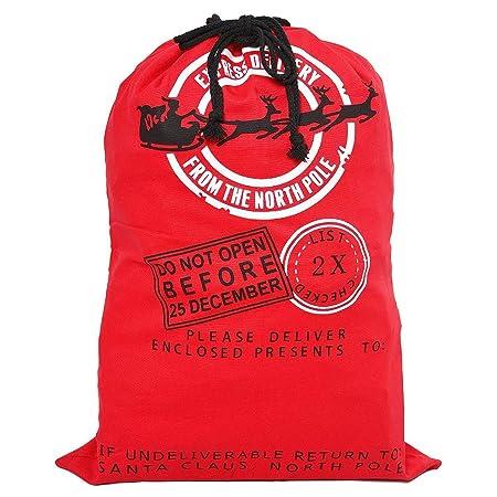 3960338c127 Style Slice 1 x Red Large Santa Sack - Personalised Christmas Eve Bag  Drawstring Hessian Fabric