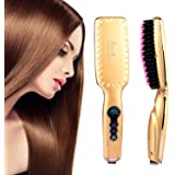 Straightening Brush, Hair Straightening Brush, Hair Straightener Brush with LED Temperature Display for Silky & Straight Hair (Golden)
