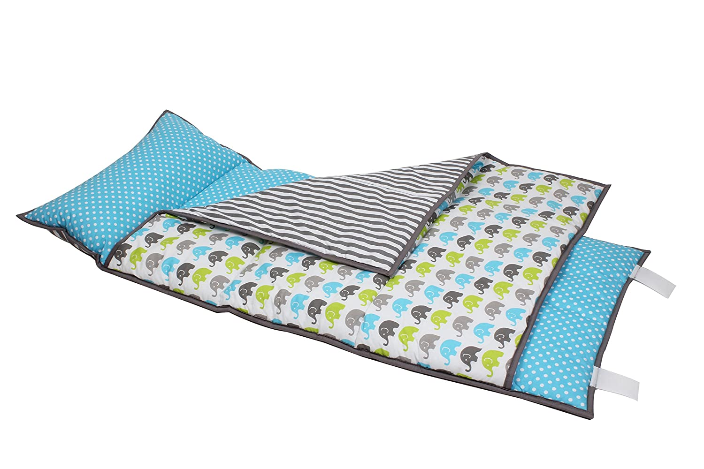 Bacati Elephants Nap Mat Bedding Set, Aqua/Lime/Grey by Bacati   B013UGMNG4