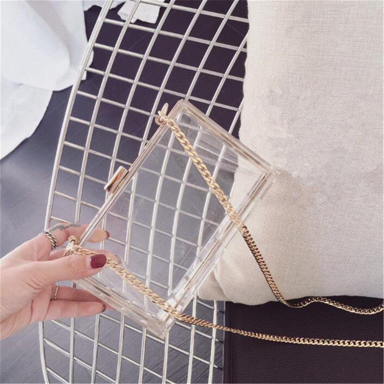 Amazon.com: Paddy Meredith New Acrylic Transparent Clutch Chain Box Bag Women Shoulder Messenger Bags Wedding Party Day Clutch Purse Wallet Handbags Pink: ...