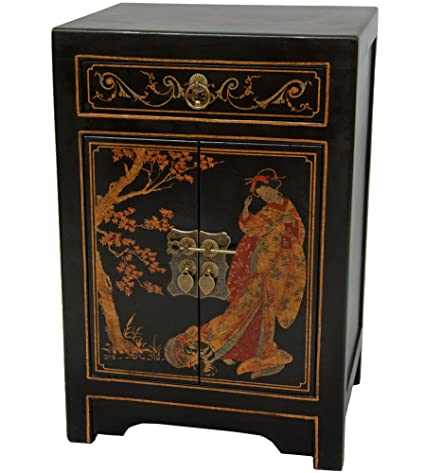 Oriental Furniture Black Lacquer End Table Cabinet