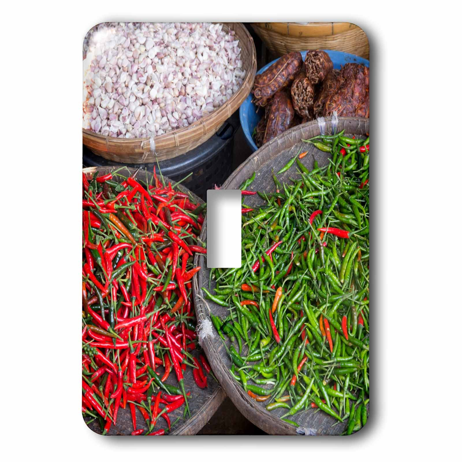 Danita Delimont - Food - Thailand, Chiang Mai. Thai street vendor of green and red Chilies. - Light Switch Covers - single toggle switch (lsp_226027_1) by 3dRose