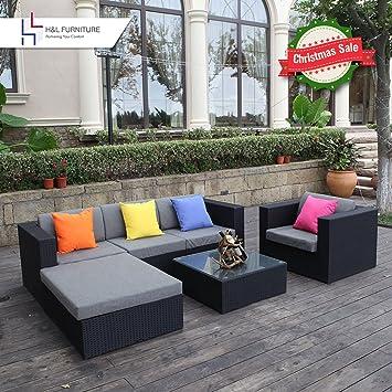 hl patio 6pcs rattan wicker sofa set outdoor garden furniture cushioned sofa set with ottoman black