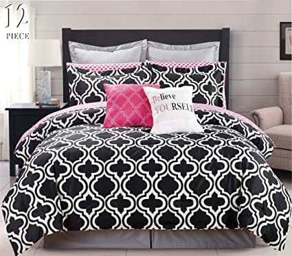 Amazoncom 12 Piece Modern Bedding Black White And Pink Chic King