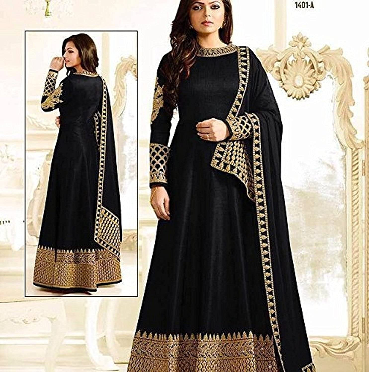 1a3124f1ec Delisa Readymade Partywear Indian/Pakistani Salwar Anarkali Suit SF-122F4F02  (SMALL-38, Black): Amazon.co.uk: Clothing