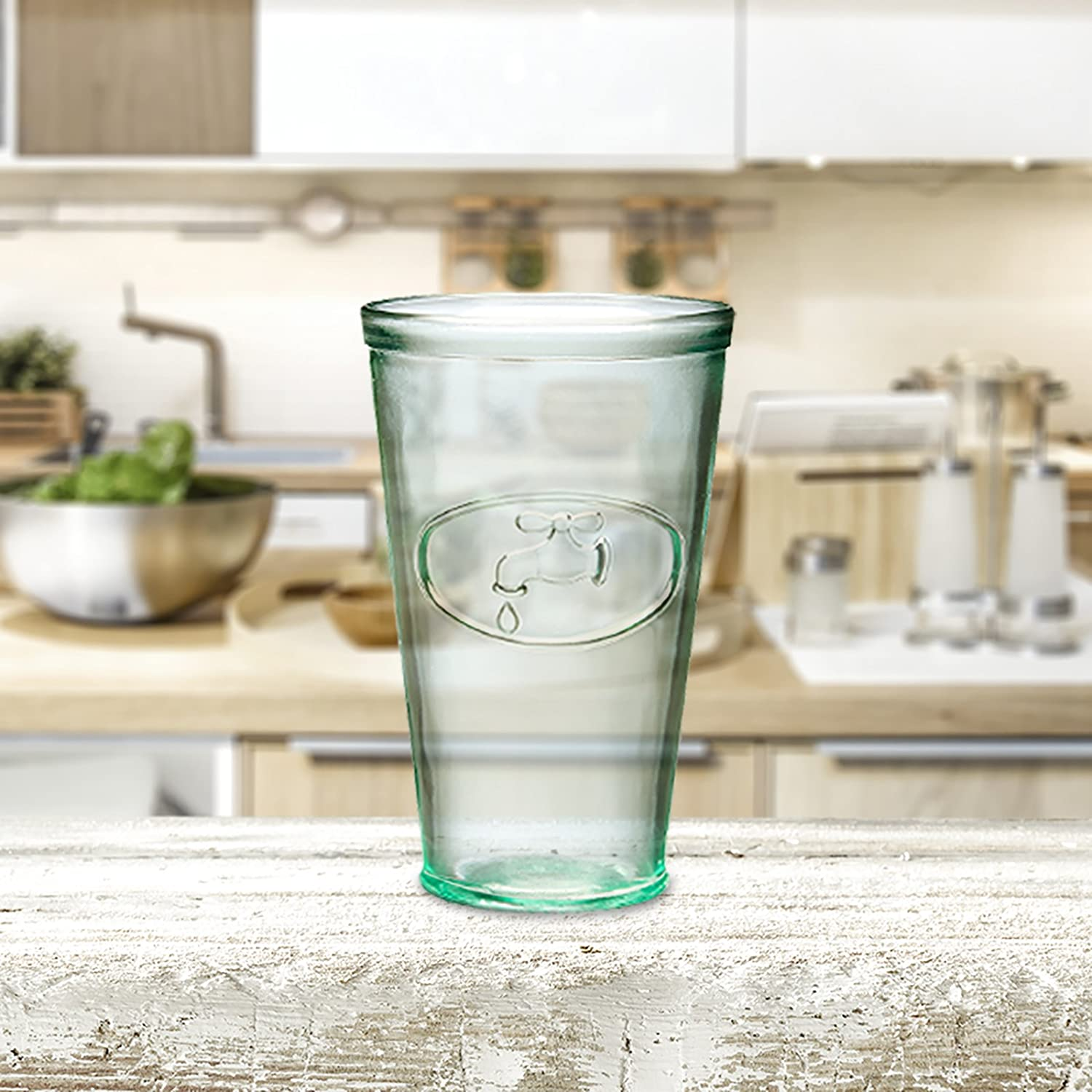 Recycled Glassware A7AJ715S6R Made in Italy Set of 6 Rooster Relief Hiball Drinking Glass Dishwasher Safe Amici Home 16 Ounces
