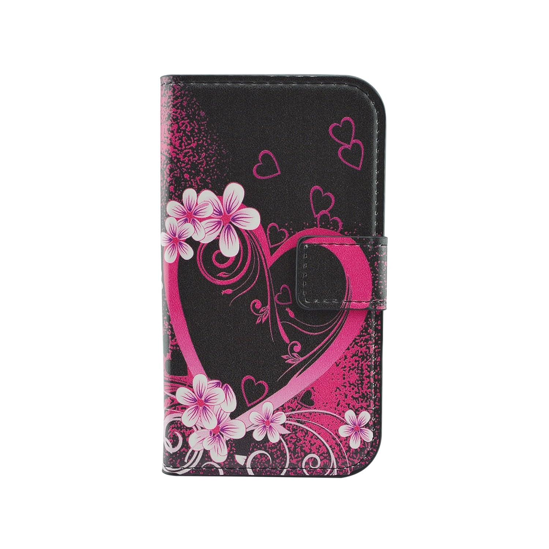Qiaogle Teléfono Case - Funda de PU Cuero Billetera Clamshell Carcasa Cover para Motorola Moto G (1.Generation) (4.5 Pulgadas) - HY13 / Red Love Heart