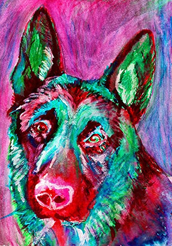 9941740ce9d Colorful German shepherd dog painting art print by